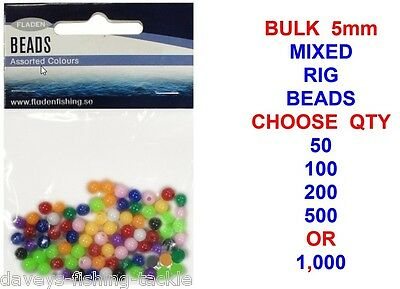 BULK MIXED 5mm RIG BEADS FOR SEA FISHING LINE BAIT CLIP RIGS 50 100 200 500 1000