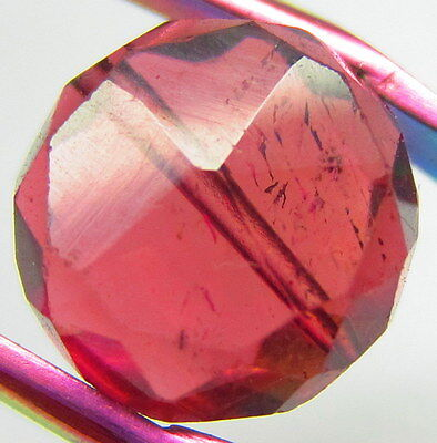 4.05CT, 9MM 100% Natural Beautiful Pink Tourmaline Faceted Coin Bead Drilled