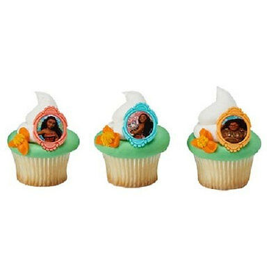 12 Moana Movie Cupcake Rings Birthday Party Favors Cake Topper