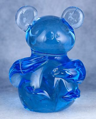 Vintage Hand Blown Blue Glass Bear Figurine 3 Inch High