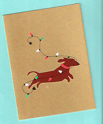 Dachshund with Lights Christmas Cards Box of 8 Silk Screen Handmade US