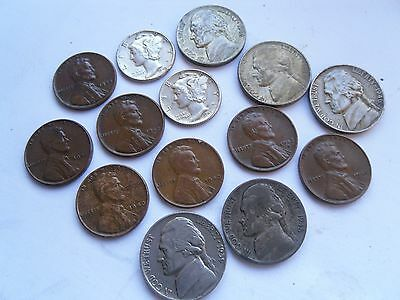 USA, Second World War Coins, Cent, Dime, Nickel (some silver) as shown.