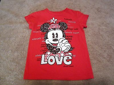 Baby Girls Toddler Disney Minnie Mouse Red Graphic shortSleeve Shirt Size 2/3T
