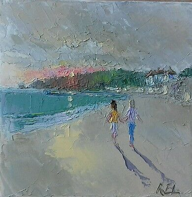 Jersey-oil on stretched canvas-original painting-St Brelades Bay-Romance-sunset