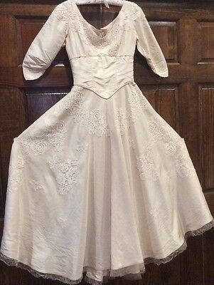 Vintage 1957 Tea Length Wedding Dress And Tiara , Veil