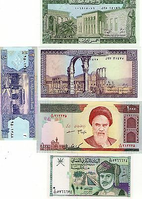 Middle East Banknote Collection X 5 Uncirculated Notes Includes Oman And Lebanon