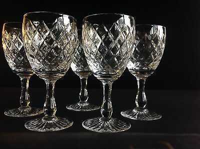 """5 Royal Brierley Crystal Coventry Type Wine Glasses 5 3/4"""""""