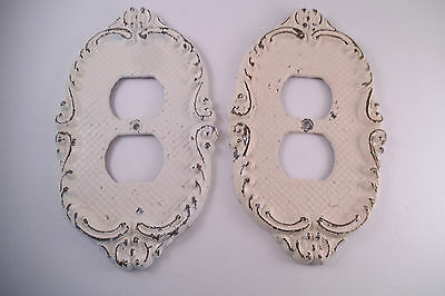 Vintage Pair of Metal Light Switch Outlet Covers White Paint Scroll