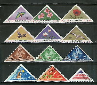 12 Diff.triangular Stamps On Topicals, Large, Commemo. Fu, # 1