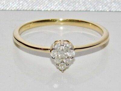 9ct Yellow Gold 0.15ct Diamond Ladies Cluster Ring - size P