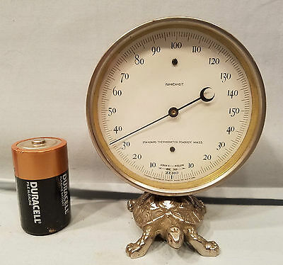 Rare Beautiful 1888 Nickel Plate Desk Thermometer Mounted On Nickel Turtle Base