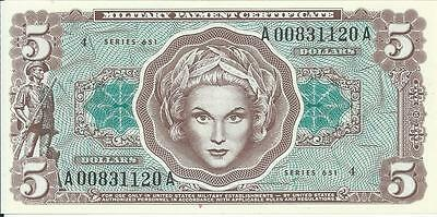 Rare Series 651 $5 Military Payment Certificate MPC Note Currency CHCU #120A