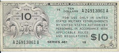 MPC Series 461 $10 Military Payment Certificate Note #061A Choice VF 1946-1947