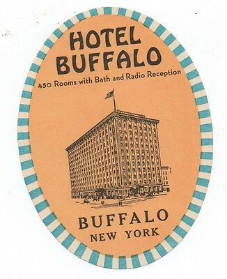 1930s Luggage Label from the Hotel Buffalo Buffalo New York