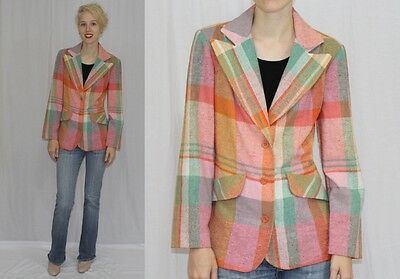 Vintage 70s PASTEL Plaid Wide Collar Hippie Boho RETRO Blazer Dress Jacket~SM
