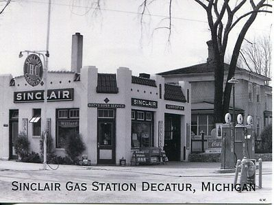 Post Card Of Old Sinclair Gas Station In Decatur Michigan From Old Photograph