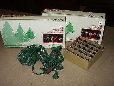 2 Vintage Sets Of New Old Store Stock Noma 25 Cool Lite Christmas Lights In Box