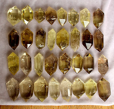 32pcs 2.2lb BEST NATURAL CLEAR CITRINE QUARTZ CRYSTAL DT WAND POINT HEALING