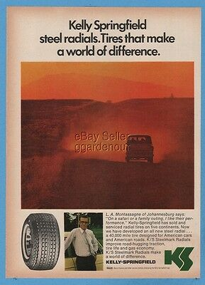 1974 Kelly Springfield Tires L.A. Montassagne Johannesburg South Africa Ad
