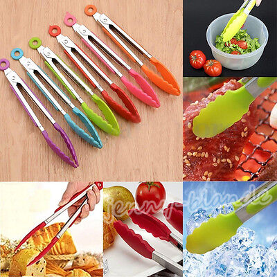 1Pc Random Silicone Food Clip Tongs Kitchen Cooking Tool Stainless Steel Handle
