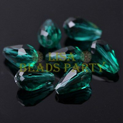 New 20pcs 16X10mm Faceted Teardrop Crystal Glass Spacer Loose Beads PeacockGreen