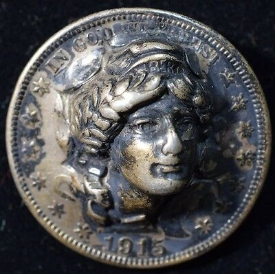 1915 Barber Half Repousse Pop out Coin - Rare Date!