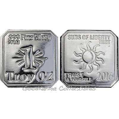 """1 oz Suns Of Liberty SOLM .999 Silver Square Art Bar 2016 """"Trust In Yourself"""""""