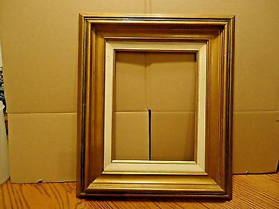 "Vintage Mid Century Gold Linen Mexico Picture Frame Holds 12"" x 9"" Painting"