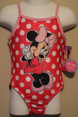 GIRLS 2T pink Minnie Mouse 1-piece swimsuit NWT UPF 50+