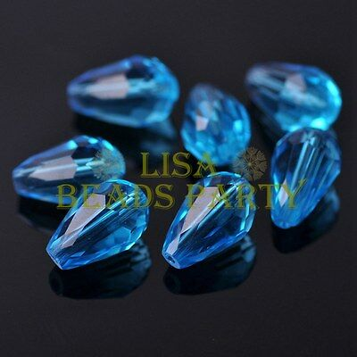 New 20pcs 16X10mm Faceted Teardrop Crystal Glass Spacer Loose Beads Lake Blue