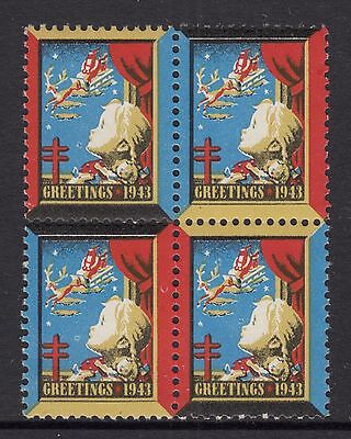 UNITED STATES  1943  Christmas Seals In Block of 4 MUH