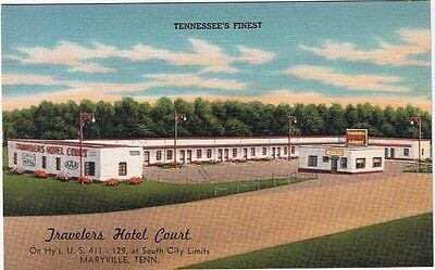 Tennessee Postcard Maryville Travelers Hotel Court