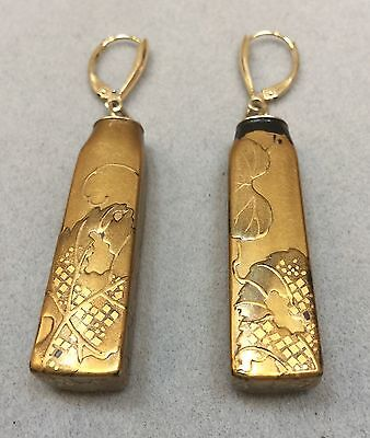 Antique Japanese Lacquer 14K Gold Earrings