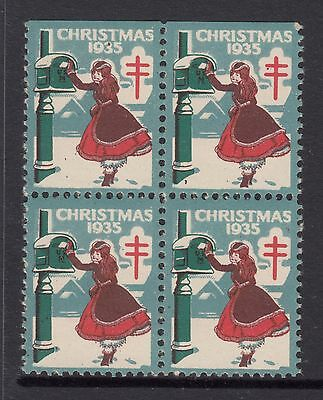UNITED STATES  1935  Christmas Seals In Block of 4 MINT UNHINGED