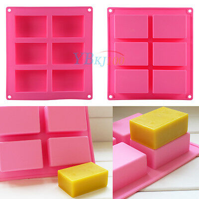 6-Cavity Plain Rectangle Soap Mold Silicone Candle Cake Mould Craft DIY Homemade