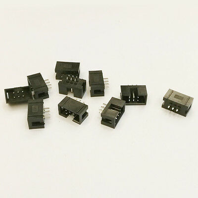 10 pcs 6 Pin 6P DC3 JTAG ISP Shrouded Male Box Header Socket Connector 2.54mm