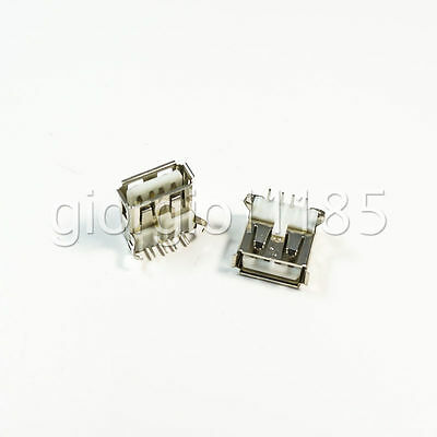 10 pcs USB Type-A Female 4 Pin PCB Mount Socket Plug Connector Right Angle New