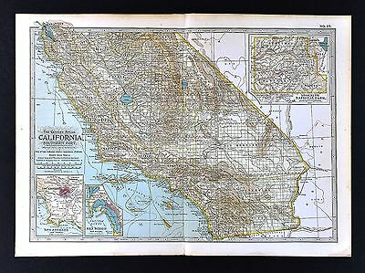 1902 Century Map Southern California Los Angeles San Diego Francisco - Yosemite