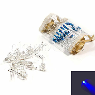 100 pcs LED 3mm Blue Water Clear Ultra Bright With Free 12V DC Resistors