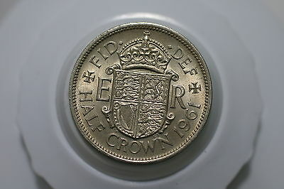 Uk Gb Half Crown 1961 Amazing Details A61 #3135