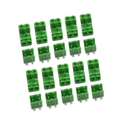 US Stock 10Set 2EDG 2P Plug-in Screw Terminal Block Connector 5.08mm Right Angle