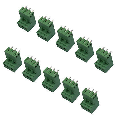 10Sets 2EDG 3Pin Plug-in Screw Terminal Block Connector 5.08mm Pitch Right Angle
