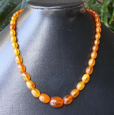 Antique Natural Honey Butterscotch Beads BALTIC AMBER Old Necklace. Nice color!