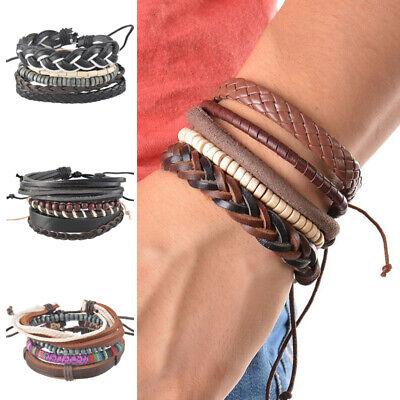 Mens Multilayer Leather Braided Rope Handmade Cuff Bracelet Adjustable 4pcs/set
