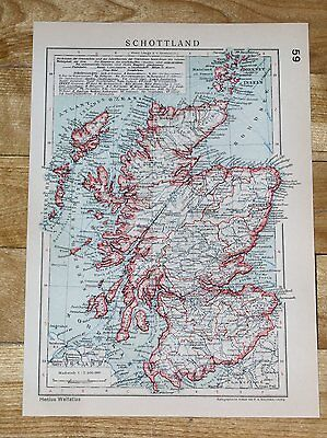 1929 Original Vintage Map Of Scotland Highlands Lowlands Glasgow Edinburgh