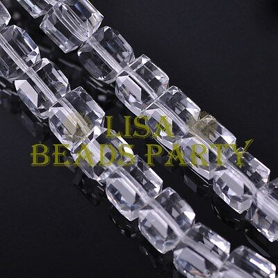 Hot 5pcs 14mm Big Cube Square Faceted Crystal Glass Loose Spacer Beads Clear