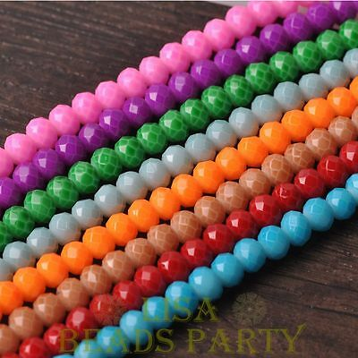 Hot 50pcs 6mm Glass With Color Coated Rondelle Faceted Loose Beads Mixed