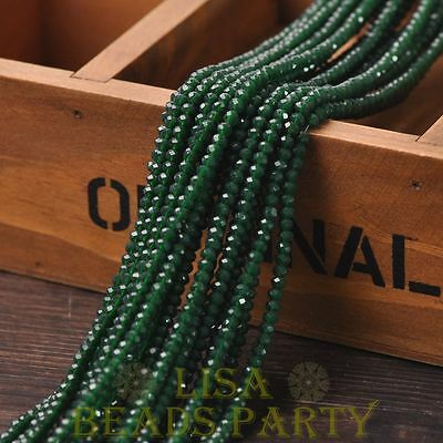 Hot 150pcs 3X2mm Crystal Glass Rondelle Faceted Loose Beads Opaque Deep Green