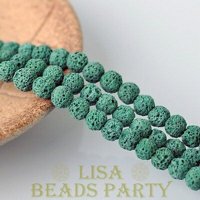 8mm 30pcs Lava Stone Natural Gemstone Round Loose Spacer Beads Lt Peacock Green