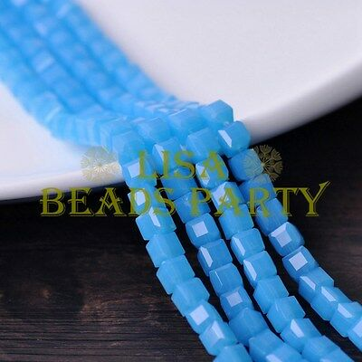 25pcs 6mm Cube Square DIY Crystal Glass Loose Spacer Beads Jade Lake Blue